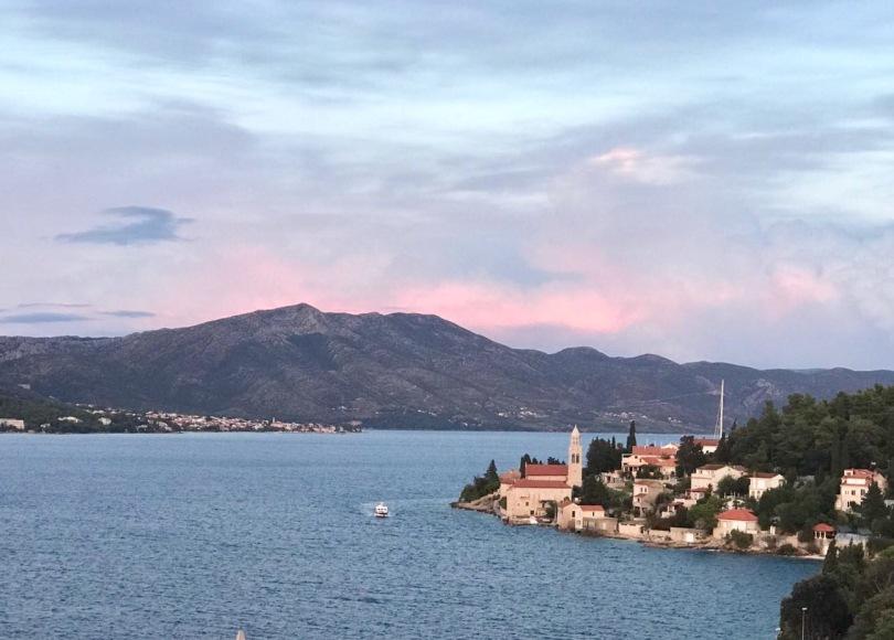 Sunset over Luka Korculanska Bay from Korčula, an island in Croatia at sunset
