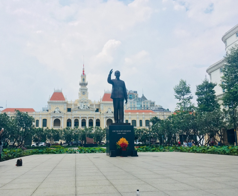 Vietnam's largest city, Ho Chi Minh City's largest square with statue of Ho Chi Minh
