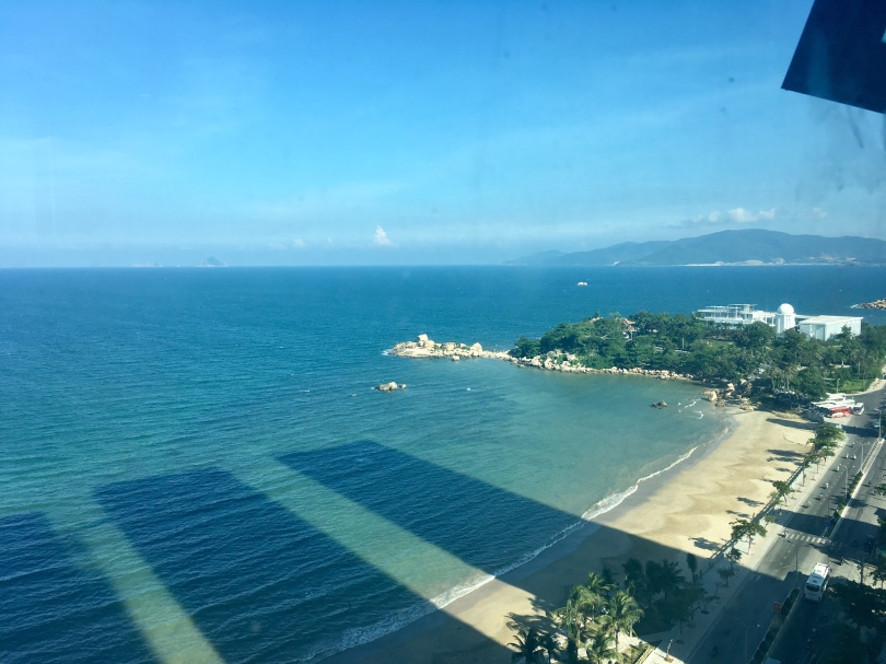 View of beach in Nha Trang Vietnam from high rise condo booked through Airbnb