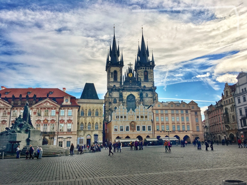 View of Old Town Square in Prague, Czech Republic with Gothic cathedral, the Church of Our Lady Before Tyn, in background