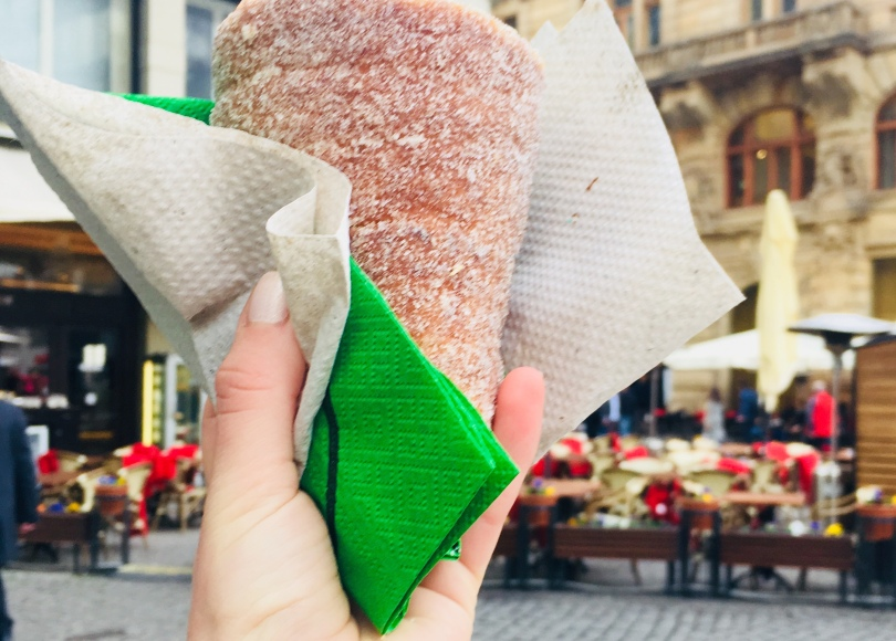 trdelnik pastry from street vendor in Prague Czech Republic