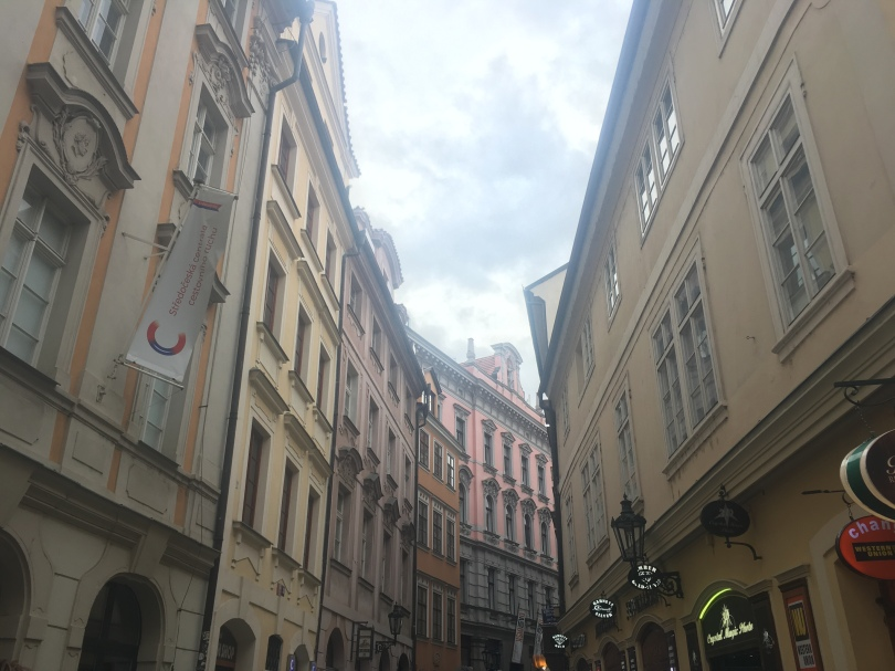 Street in the Old Town of Prague Czech Republic lined with shops and bars