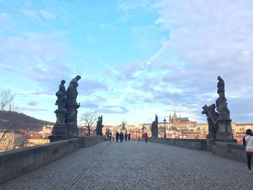 Quiet early morning view of Charles Bridge in Prague, Czech Republic