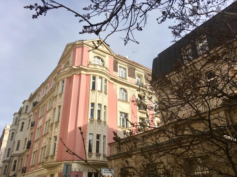 Pastel pink building located in the Jewish Quarter of Prague, Czech Republic