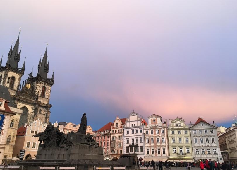 Prague Old Town Square Jan Hus Memorial sunset