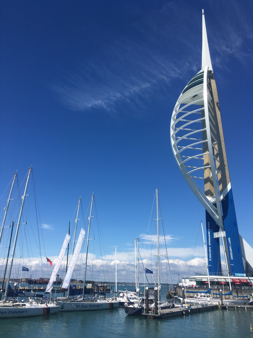 View of Portsmouth Harbour and boats and Emirates Tower in Portsmouth, England