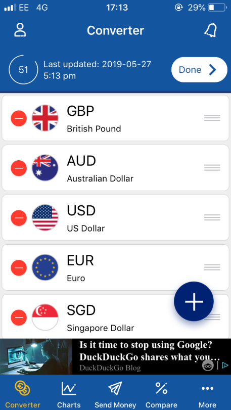 XE currency converter app