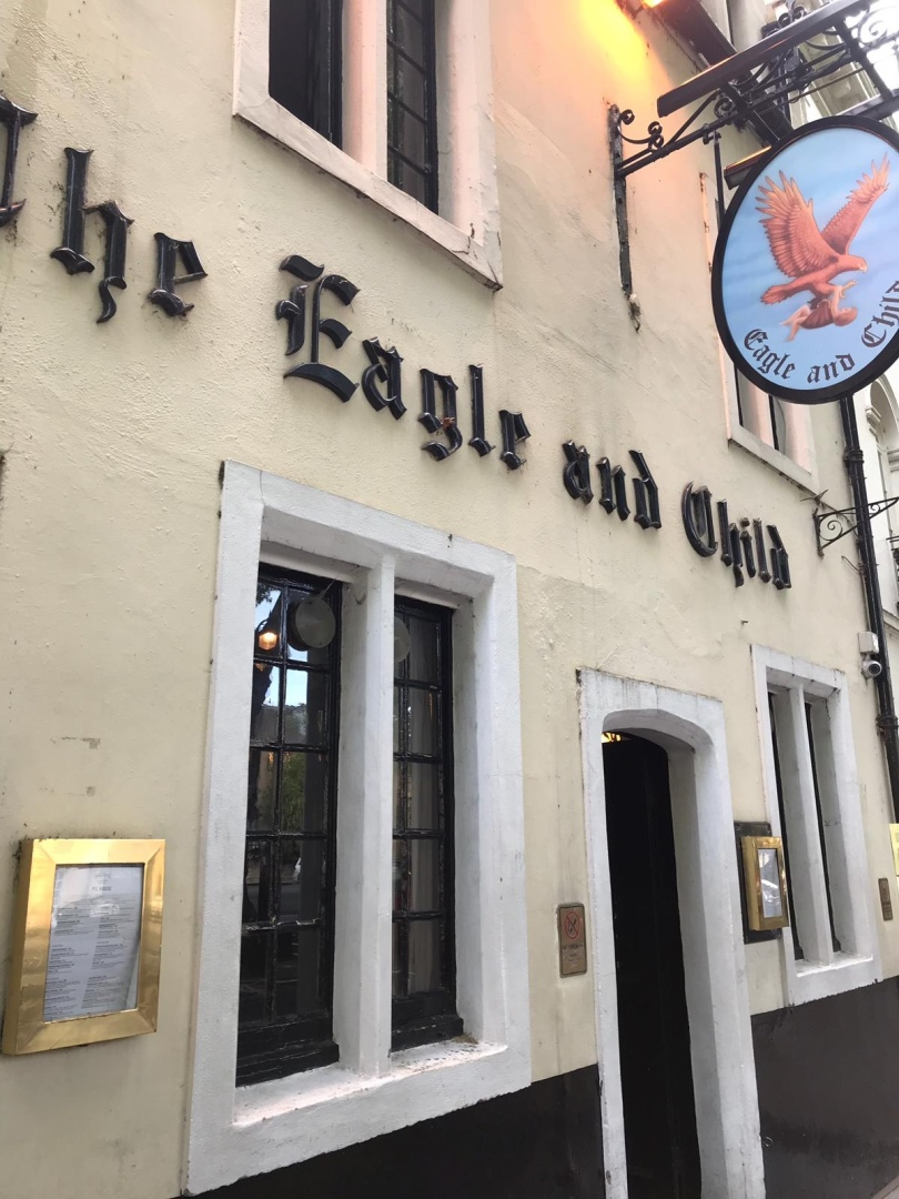 Exterior of The Eagle and Child pub in Oxford, England