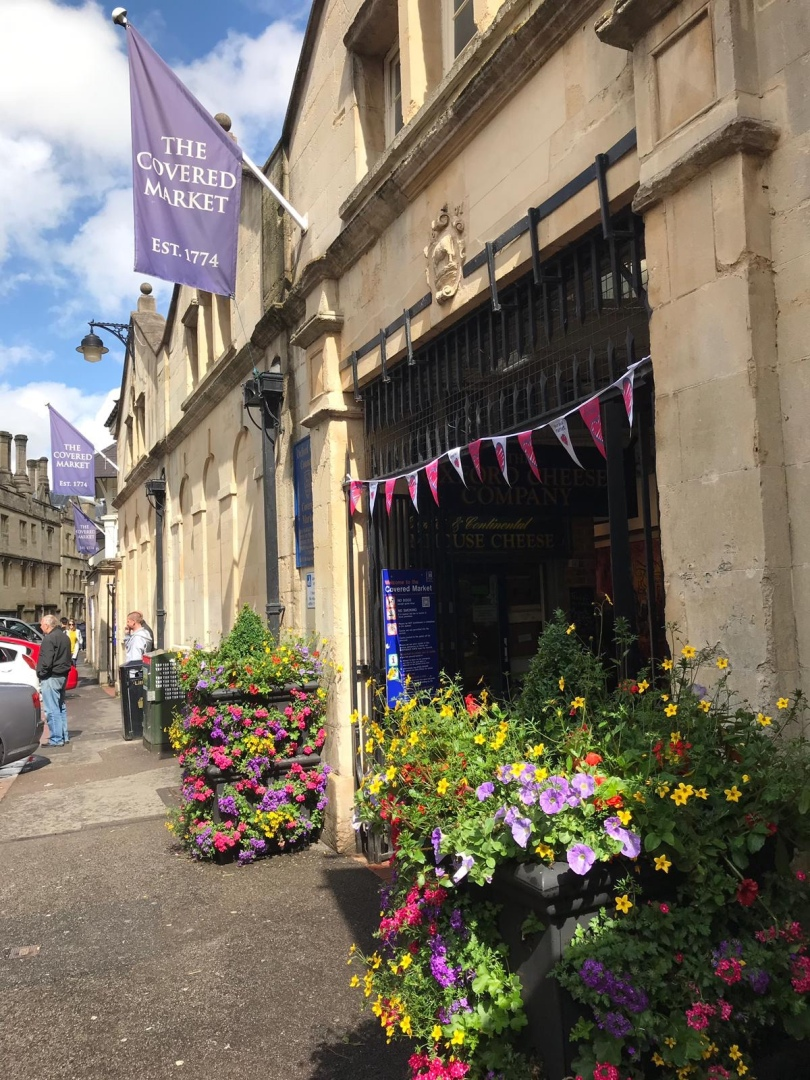 Exterior of entrance to Covered Market in Oxford, England